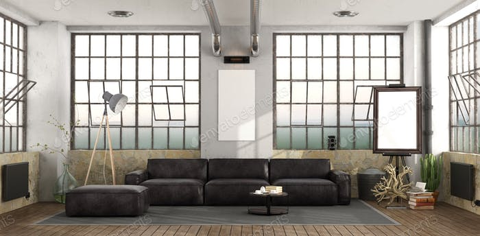 Black sofa in loft