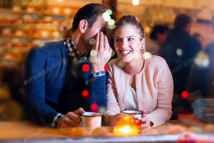 Happy young couple having fun on date
