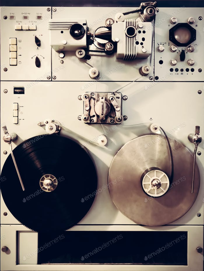 Antique recording machine with film tapes