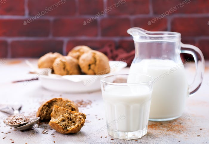 bread and milk on a table
