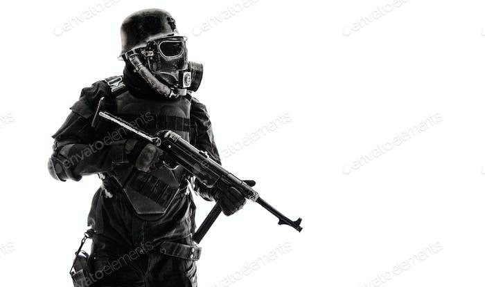 Futuristic nazi soldier sentry
