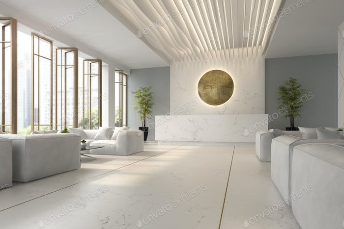 Interior of hotel and spa reception 3D illustration