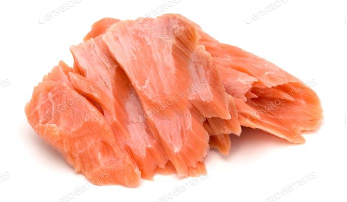 smoked salmon segments isolated on white background cutout. Prepared fish fillet fibres.