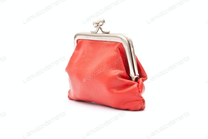 Old red purse