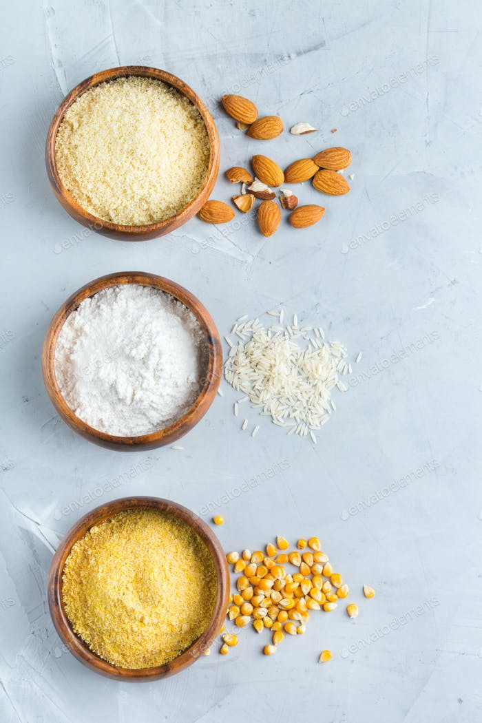 Gluten free almond, corn, rice flour on a table