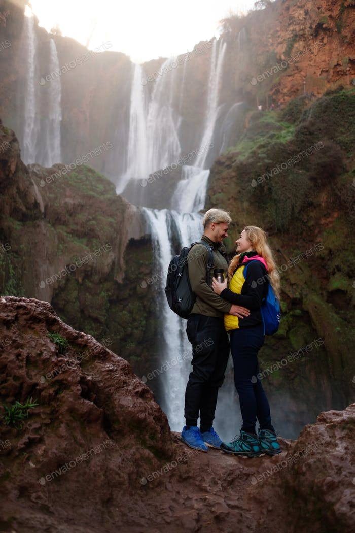 Adventurer couple near Ouzoud waterfall in Morocco