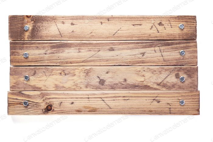 aged wooden board isolated on white background