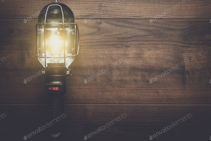 hand lamp on wooden background