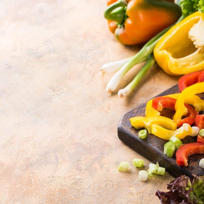 Verduras crudas frescas