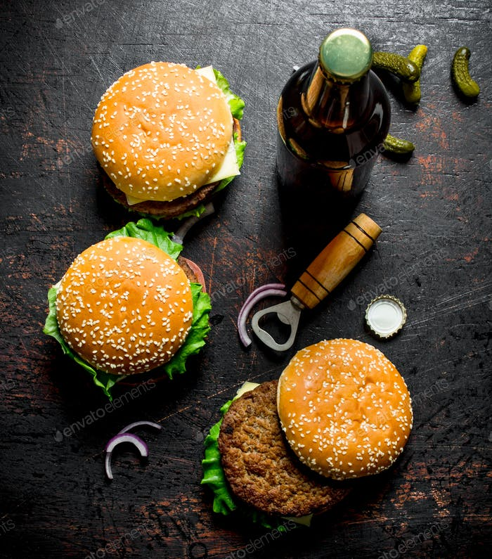 Burgers with beer in a bottle.