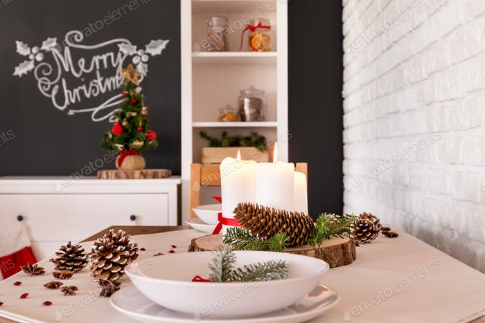 Close-up of christmas table