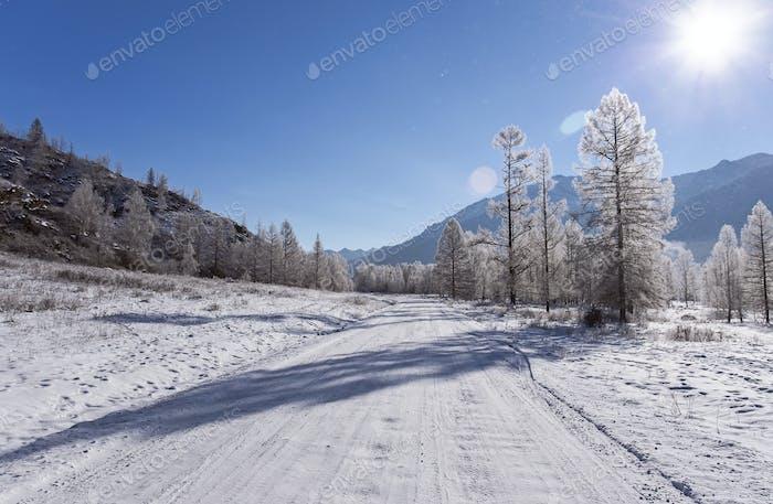 Winter travel on Mountain road