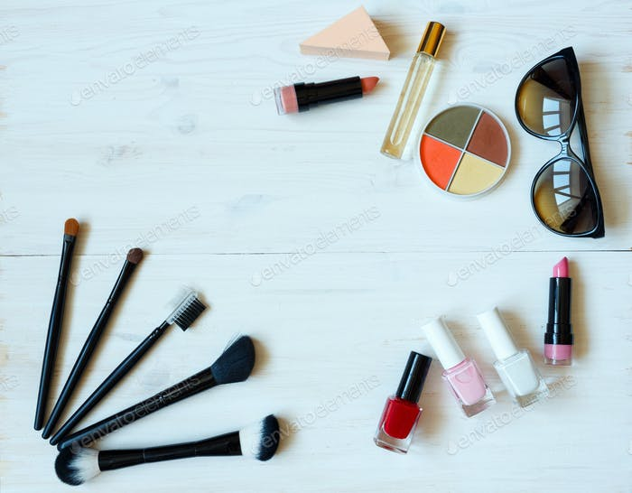 Various makeup products with copyspace