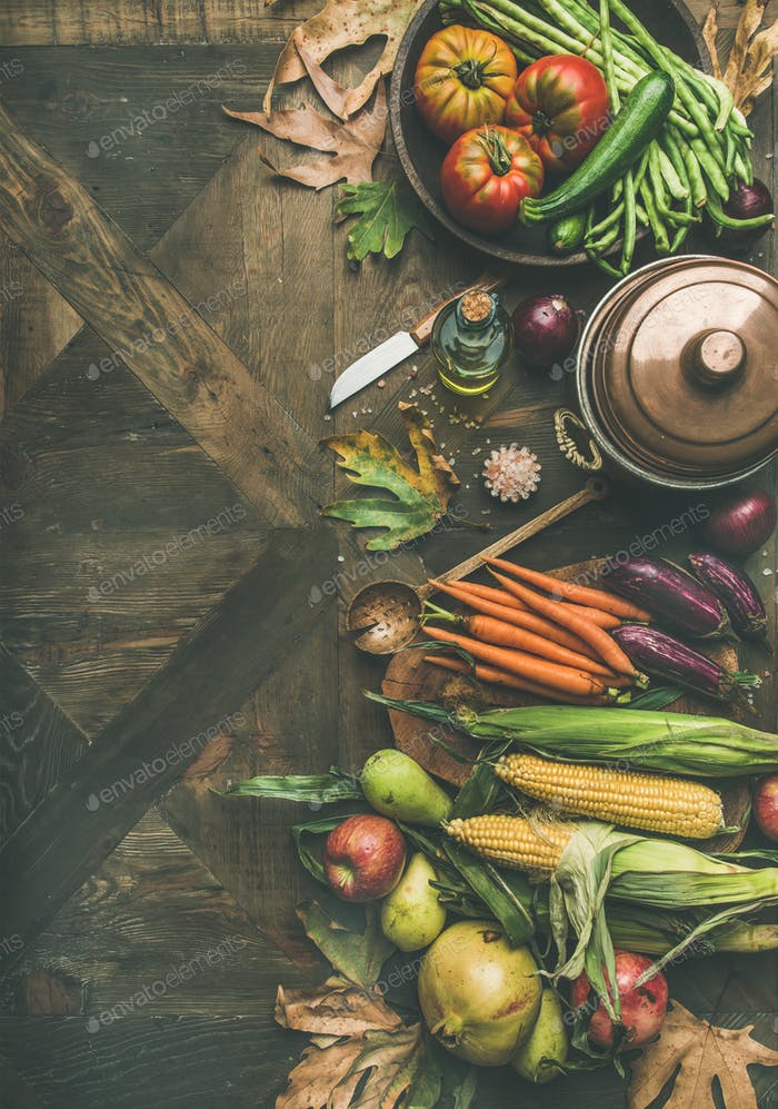 Fall healthy cooking background, copy space