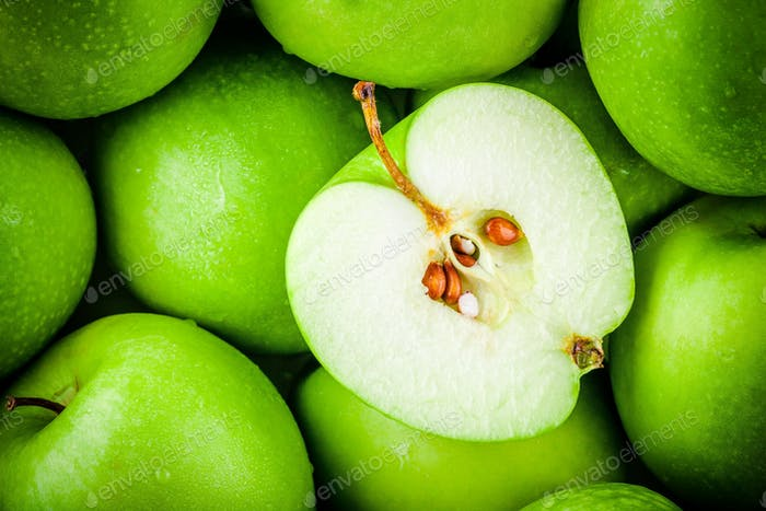 organic juicy green apples. above view
