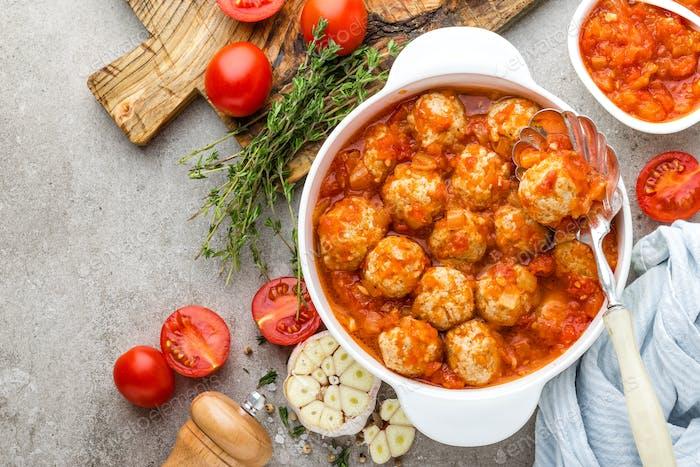 Meatballs in tomato sauce. Italian cuisine