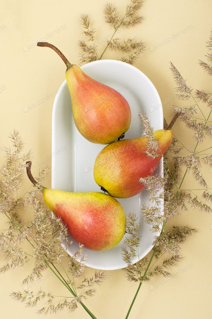 Three ripe pears on a white plate on a light yellow pastel backg