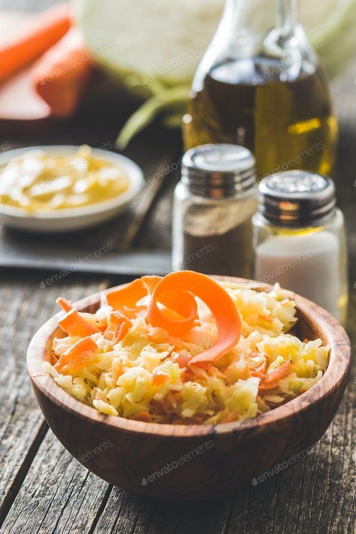 Bowl of coleslaw. Vegetable salad.