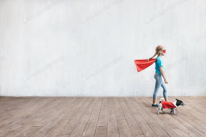 Little hero with a dog