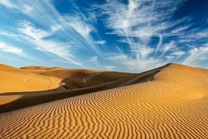 Sand dunes in desert