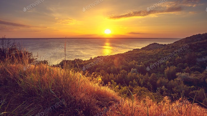 Majestic nature landscape with sunset sky