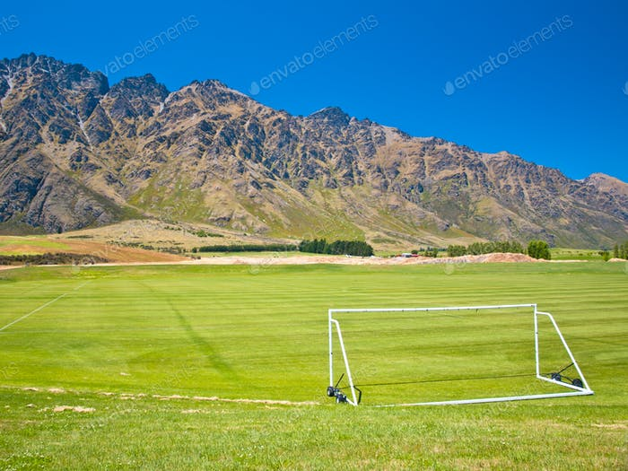 Soccer field in the mountains