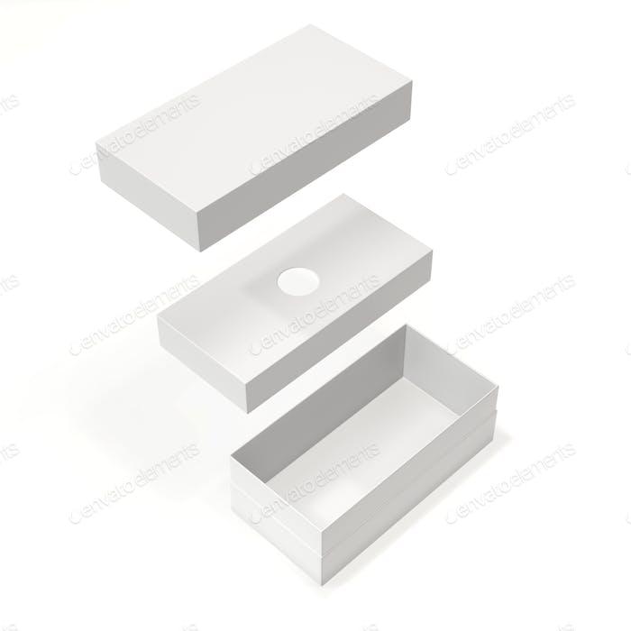 Weiße leere Kartonschachtel für Handy isoliert auf weißem Hintergrund. 3D Rendering