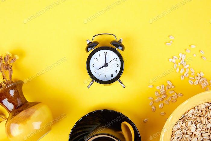 Morning coffee, granola breakfast, alarm clock