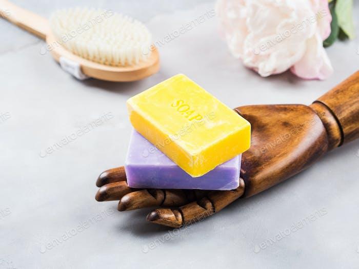 Lemon and lavender artisanal soap on marble