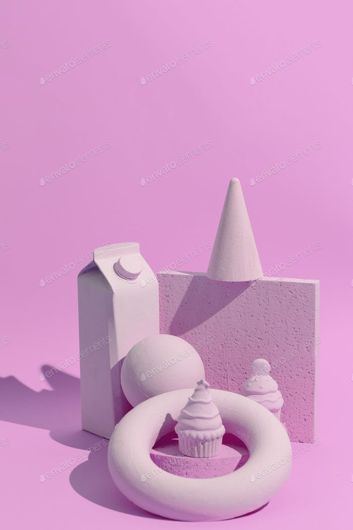 Abstract geometry figure and minimal objects. Pink trendy monochrome colours design. Still life art