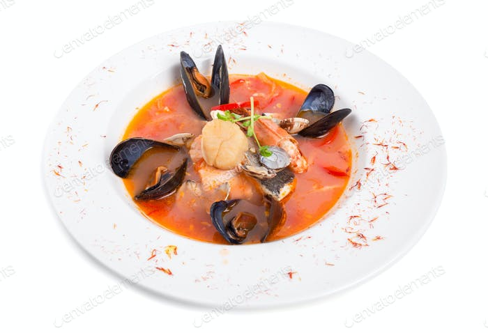 Spicy tomato seafood soup with saffron.