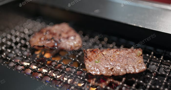 Japanese style meat barbecue at restaurant