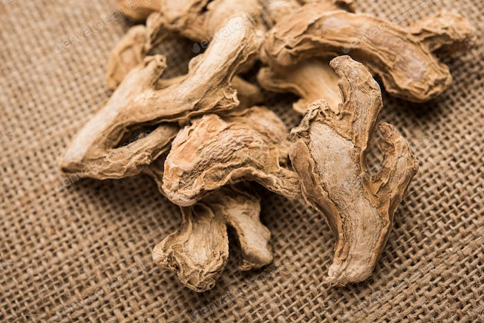 Close up of Dried ginger or Sonth isolated on white background