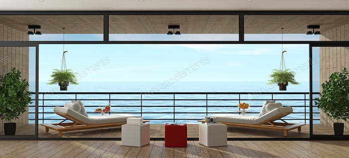 Holiday villa with wooden veranda