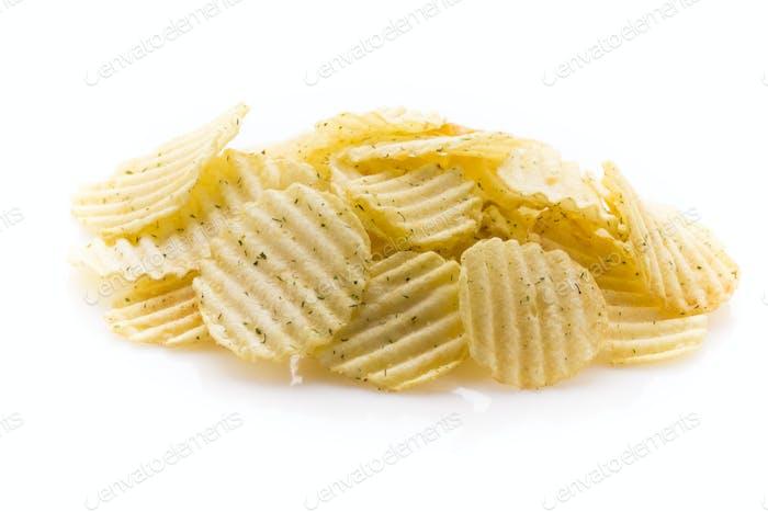 Eco potato chips on a white background.