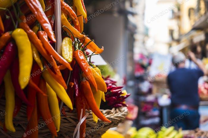 stack of spicy habanero in naples italy on the fleet street market