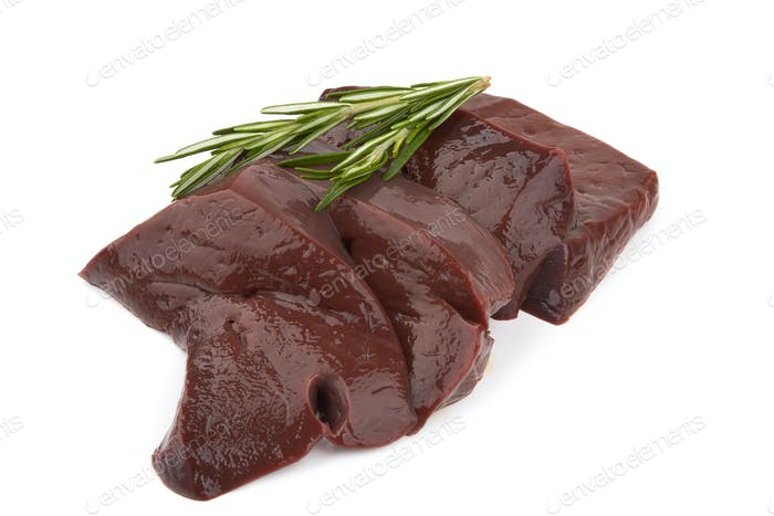 Liver fillet on white