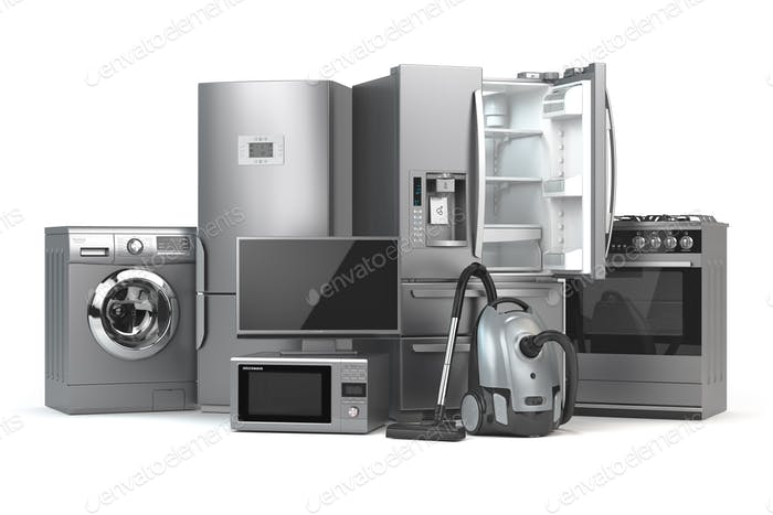 Home appliances. Set of household kitchen technics isolated on w