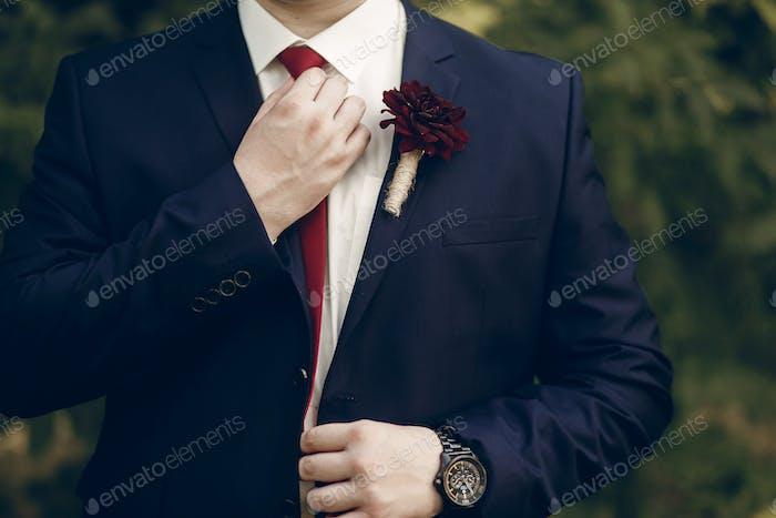 Успешный бизнесмен в стильном костюме с красной бутоньеркой