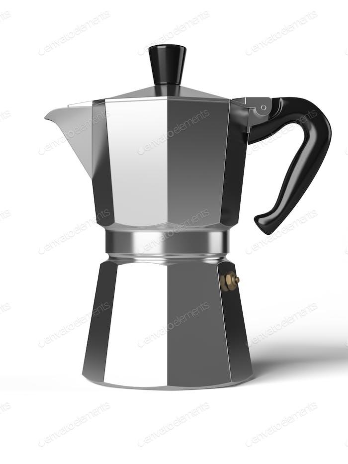 Cafetera Vintage aislada sobre un Fondo blanco 3D renderizado