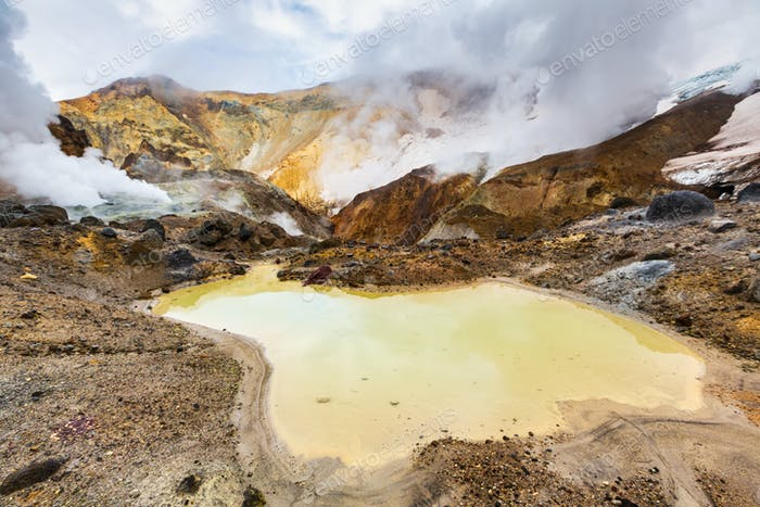 Lake in Crater of Active Volcano. Beautiful Dramatic Volcanic Landscape: Hot Spring, Fumarole