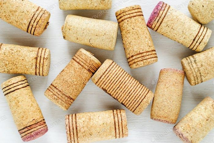 Wine corks with stripes