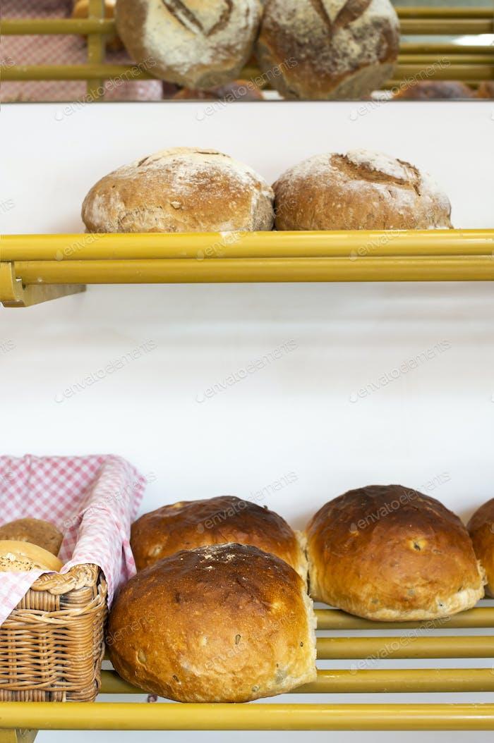 Bread in bakery shelf.