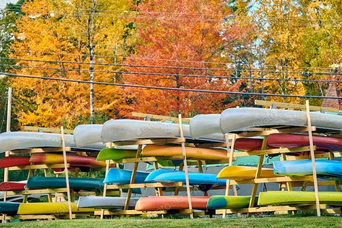 Kayak rack at autumn