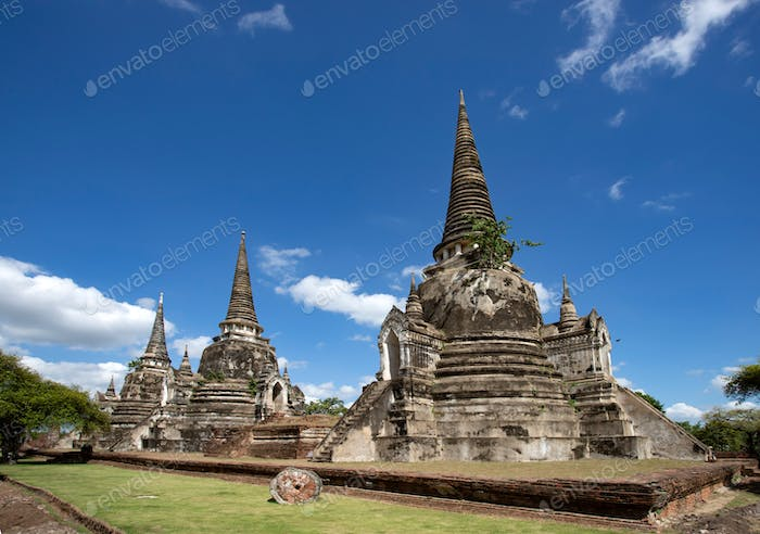 The ancient ruins of Wat Phra Si Sanphet, Ayutthaya, Thailand.