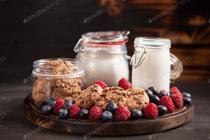 Food composition of tasty and delicious chocolate chips with fresh milk