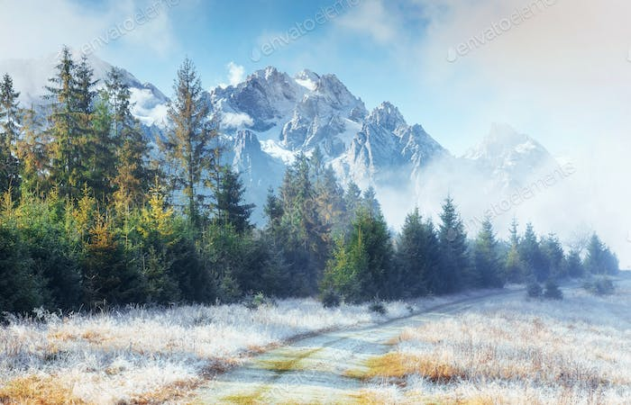 October mountain range in the first winter days