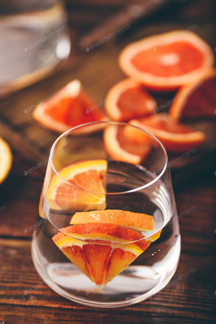 Water infused with red oranges