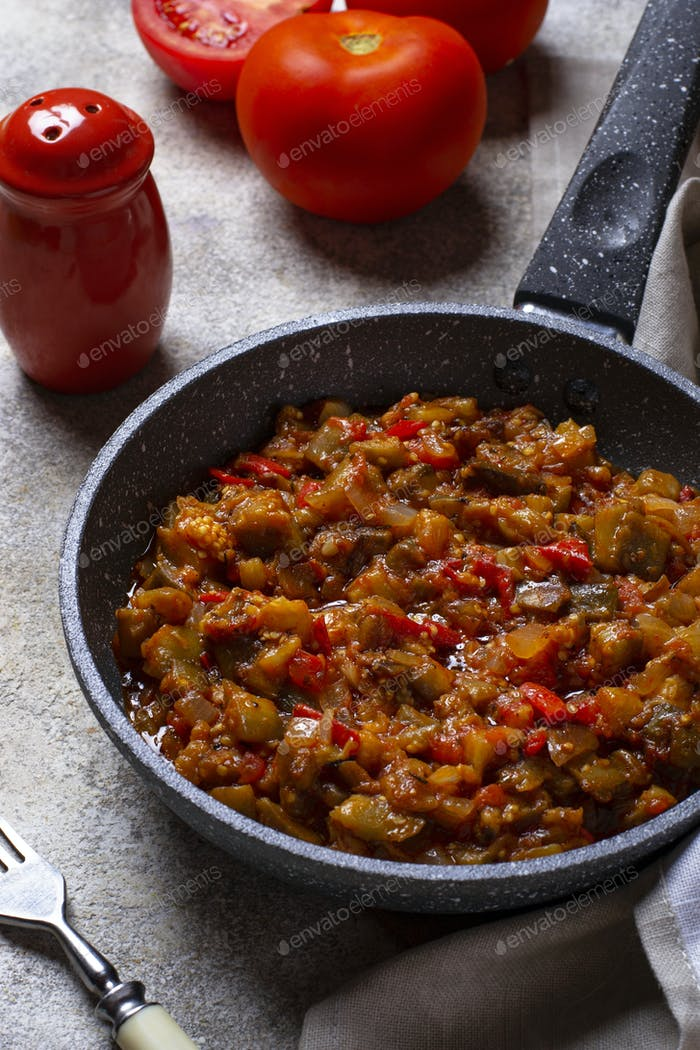 Sauteed or stewed eggplant with tomato