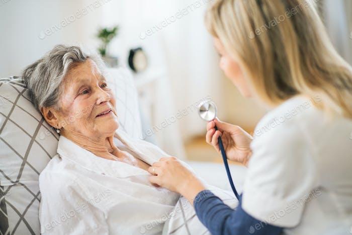 Ein Gesundheitsbesucher untersucht eine kranke Seniorin liegend zu Hause mit Stethoskop.